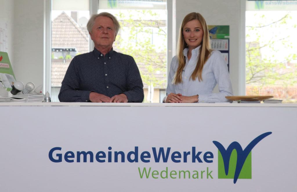 Das Team der GemeindeWerke Wedemark: Ralf Grewecke und Mareike Oertel